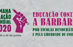 """Imagem de destaque da SAM 2020. Imagem apresenta slogan da semana (""""Educação Contra a Barbárie)"""""""